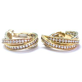 Cartier Trinity Earrings 18K Yellow White & Rose Gold Diamond Earrings
