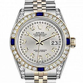 Men's Rolex 36mm Datejust Two Tone Jubilee Silver Color String Diamond Accent Dial Bezel + Lugs + Sapphire