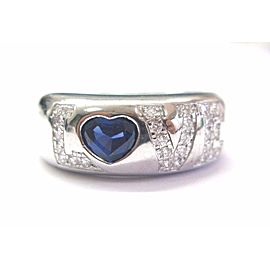 Chopard 18K White Gold Sapphire Diamond Love Ring Size 6.25