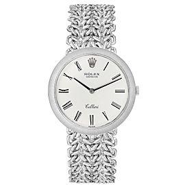 Rolex Cellini 18k White Gold Silver Dial Vintage Mens Watch 3838