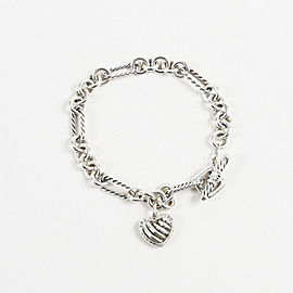 David Yurman 925 Sterling Silver with 0.18ct Diamond Cable Heart Charm Bracelet