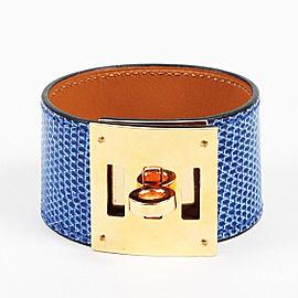 "Hermes Gold Tone Hardware with Leather ""Kelly Dog"" Bracelet"