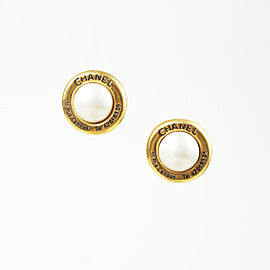 Chanel Gold Tone Hardware with Simulated Glass Pearl Rue Cambon Earrings