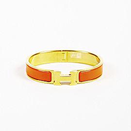 "Hermes ""Clic Clac GM"" Gold Tone Hardware with Orange Enamel Bracelet"