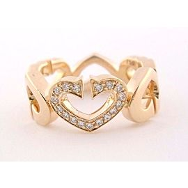 Cartier C Heart Ring 18K Rose Gold Diamond Size 5.25