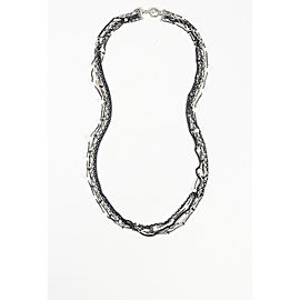 David Yurman 925 Sterling Silver Hematite Pearl Multi Strand Necklace