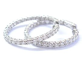 14k White Gold Round Cut Diamond Inside Out Hoop Earrings