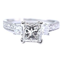 Scott Kay 14k White Gold Princess Cut Diamond 3-Stone Engagement Ring Size 6