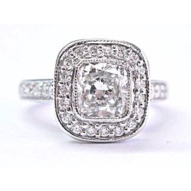 Platinum Cushion & Round Cut Diamond Bezel Set Engagement Ring Size 4
