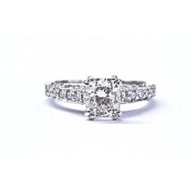Scott Kay Palladium Cushion & Round Cut Diamond Engagement Ring Size 4.5