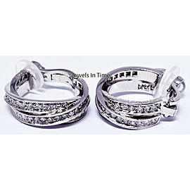 "Cartier Trinity "" Inside Out "" 18k White Gold & Diamond Earrings"