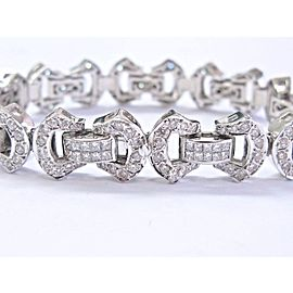 18K White Gold Princess & Round Cut Diamond Bracelet