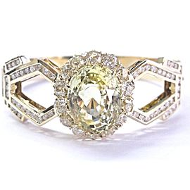 18K Yellow Gold Sapphire Old European Cut Diamond Bangle