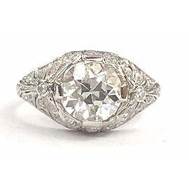Platinum Old European Diamond Engagement Milgrain Ring Size 4