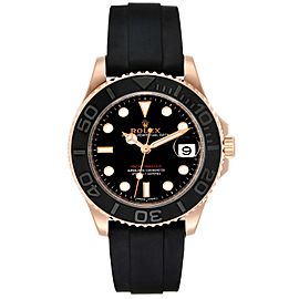Rolex Yachtmaster 37 18K Everose Gold Rubber Strap Watch 268655
