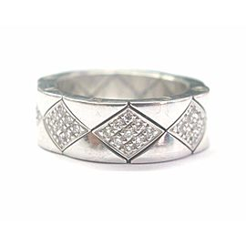 Chanel 18K White Gold Quilted Diamond Band Ring Size 6.5
