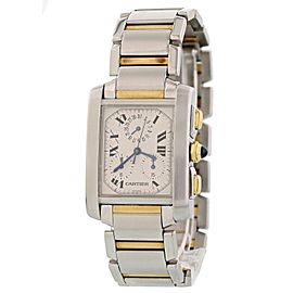 Cartier Tank Francaise Chronoflex 2303 28mm Mens Watch