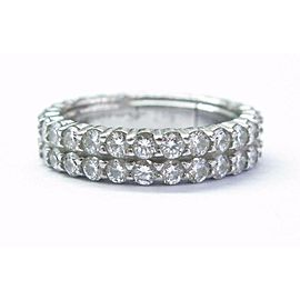 18K White Gold Diamond 2-Row Eternity Band Size 7