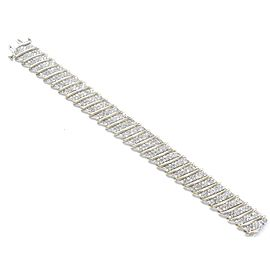 14K Yellow Gold Round Cut Diamond Wide Tennis Bracelet
