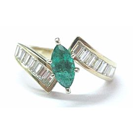 14K Yellow Gold Emerald, Diamond Ring Size 7.75