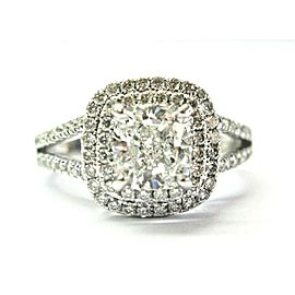 14K White Gold Cushion & Round Cut Diamond Engagement Ring Size 5