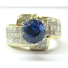 18K Yellow Gold Tanzanite & Princess Cut Diamond Ring Size 7