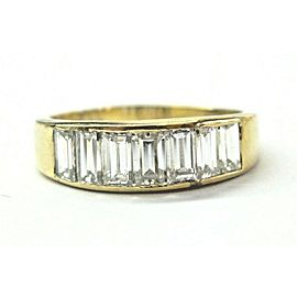 18K Yellow Gold Baguette Diamond 7-Stone Ring Size 9.75