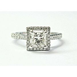 14k White Gold Princess & Round Diamond Halo Engagement Ring Size 5.5