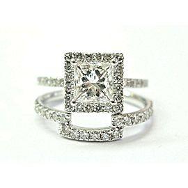 14K White Gold Princess & Round Diamond Halo Wedding Set Size 5.5