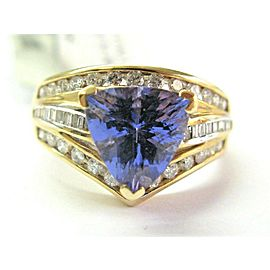 14k Yellow Gold Tanzanite & Multi Shape Diamond Ring Size 7