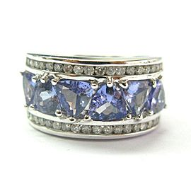 14K White Gold Tanzanite & Diamond Cluster Band Ring Size 7