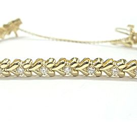 14K Yellow Gold Round Diamond Heart Shape Tennis Bracelet
