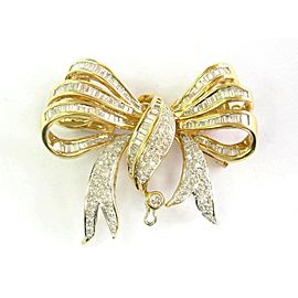 18K Yellow Gold Baguette & Round Diamond Pin/Brooch