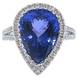 18K White Gold Pear Shape Tanzanite & Diamond Split Shank Ring Size 7