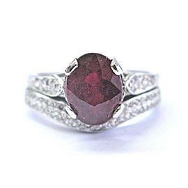 Vintage Platinum Gem Ruby & Diamond Wedding Set Ring 2.93Ct