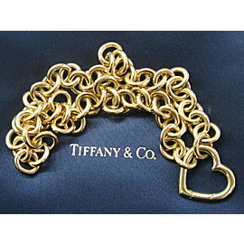 """Tiffany & Co 18Kt Yellow Gold Heart Link Pendant Necklace 16.5"""""""