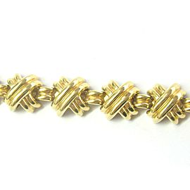 "Tiffany & Co 18kt Signature X Yellow Gold Bracelet 81.6 Grams 7"" 15mm"