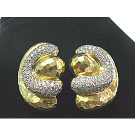 NATURAL 18Kt Henry Dunay Hammered Diamond Yellow Gold Earrings 4.50Ct