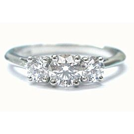 Tiffany & Co Platinum 3-Stone Diamond Engagement Ring 1.00CT E/VS1-2 Size 6.25