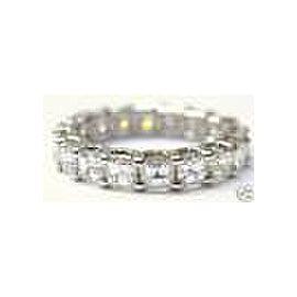 Fine Asscher Cut NATURAL Diamond Eternity Ring 3.75Ct White Gold Size 4
