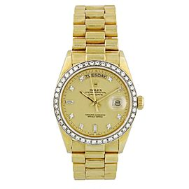 Rolex Day-Date President 18048 Diamond Dial and Bezel Mens Watch