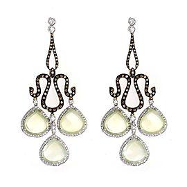 Leaderline 18K Yellow and White Gold Green Quartz & Diamond Earrings