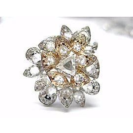 18Kt Rose Cut NATURAL Diamond Rose Gold & SOLID White Gold Ring 3.58CT