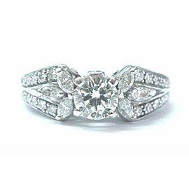 Natural Round & Marquise Diamond White Gold Engagement Ring .96Ct 18KT/Platinum