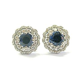 18Kt Natural Tanzanite & Diamond Circular White Gold Stud Earrings 2.22Ct