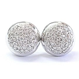 Circular Pave Natural Diamond Solid White Gold Stud Earrings 1.50Ct 14Kt 15.9mm