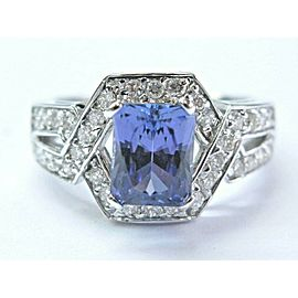 Natural Radiant Cut Tanzanite & Diamond Split Shank Jewelry Ring 14K 3.02Ct AAAA