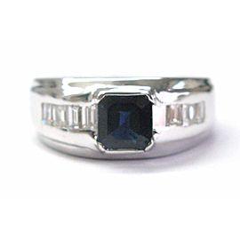 Cushion Ceylon Sapphire Diamond White Gold Bezel Set Jewelry Ring 14Kt 3.13Ct