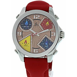 Jacob & Co Five Time Zones SS Red Strap W/ Box