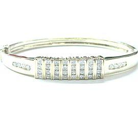 NATURAL Princess Diamond Invisible Setting Yellow Gold Bangle Bracelet 3.71CT